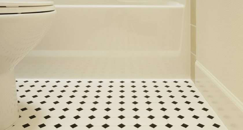 Vinyl Floor Tiles Bathroom Black White