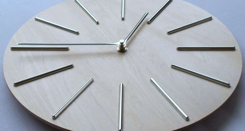 Wall Clock Wooden Modern Stylish Kitchen Silver Colour Hands