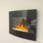 Wall Mounted Arched Glass Electric Fire Pebble Effect Wide