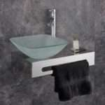 Wall Mounted Stainless Steel Shelf Glass Basin