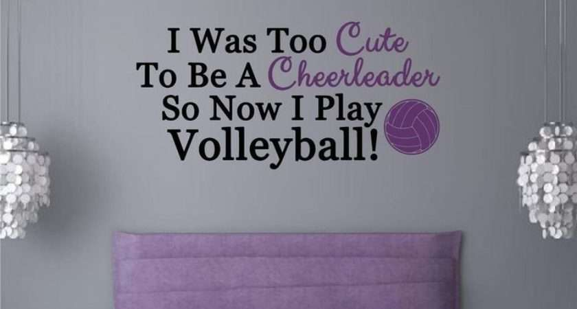 Wall Stickers Words Letters Teen Room Decor Volleyball