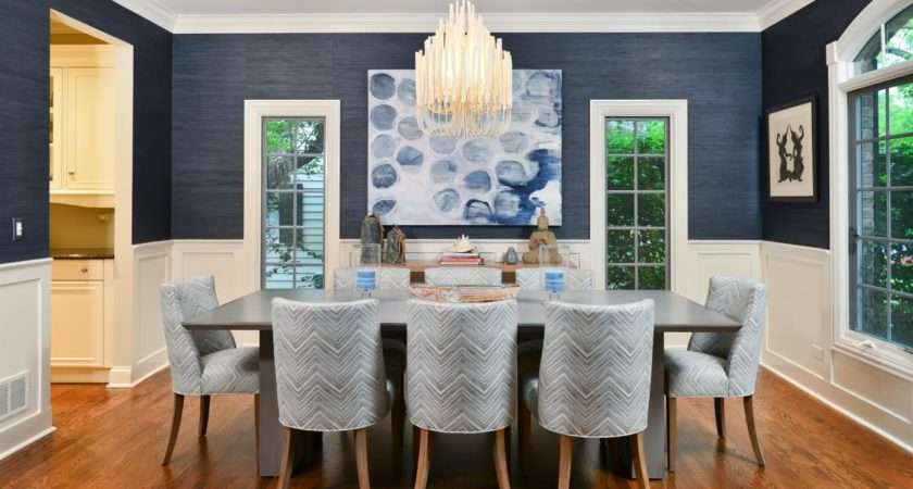 Warm Blue White Paint Color Ideas Modern Dining Room