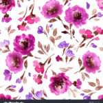 Watercolor Floral Pattern Seamless Purple