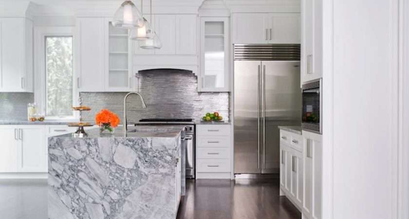 Waterfall Marble Kitchen Island Contemporary