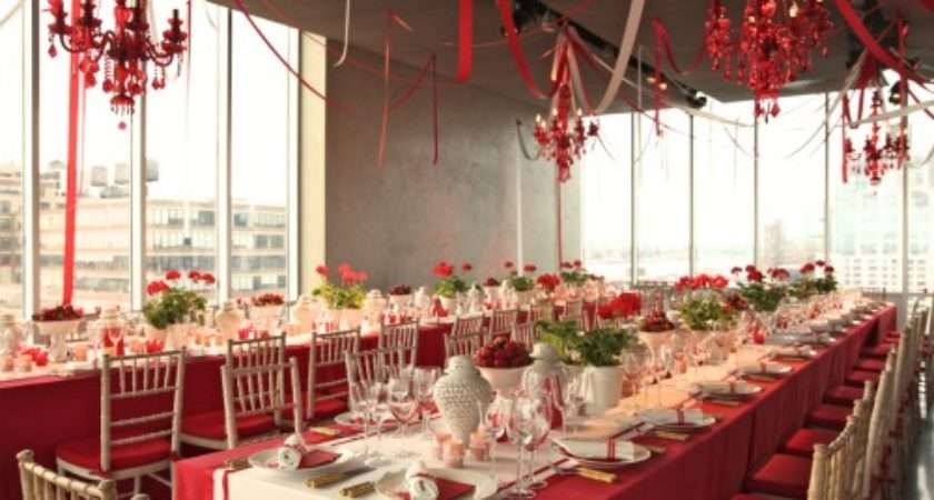 Wedding Ideas Red White Table Decorations
