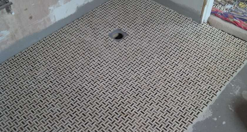 Wet Room Floor Mosaic Tile Showing Gully