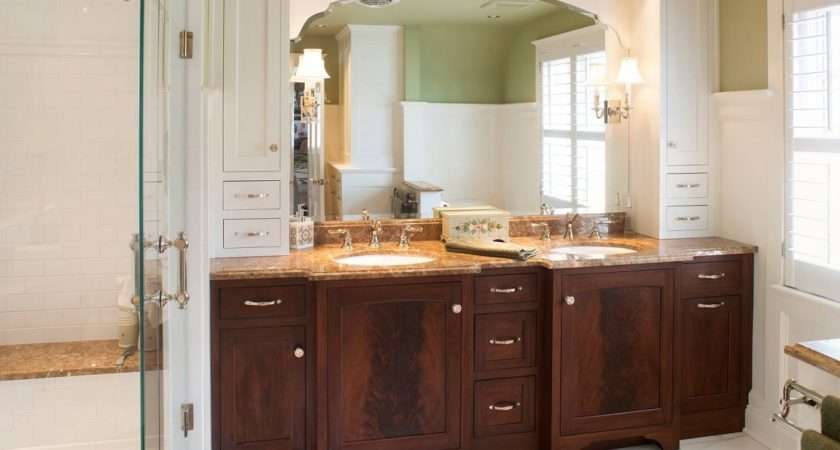 White Bath Cabinet Small Master Bathroom Remodeling Ideas