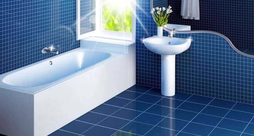 White Bathroom Interiors Blue Ceramic Floor Wall Tile Plus