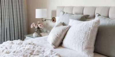 White Beige Bedroom Tufted Headboard Grey Linen Shams