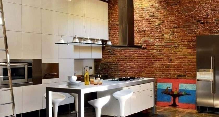 White Cabinets Kitchen Decoration Drawings Vintage Brick Wall