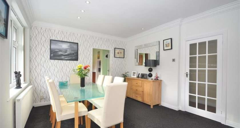White Dining Area Room Feature Wall