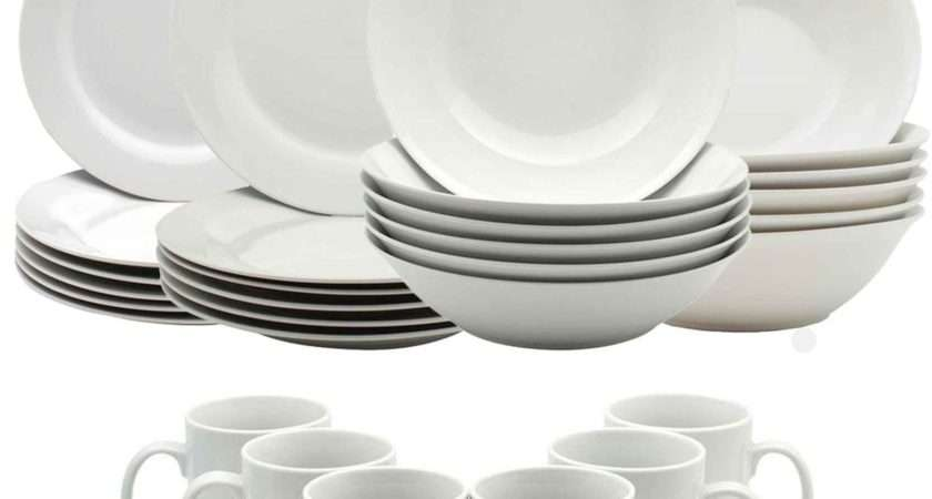 White Dinner Crockery Dining Set Plates Bowls Mugs Cups