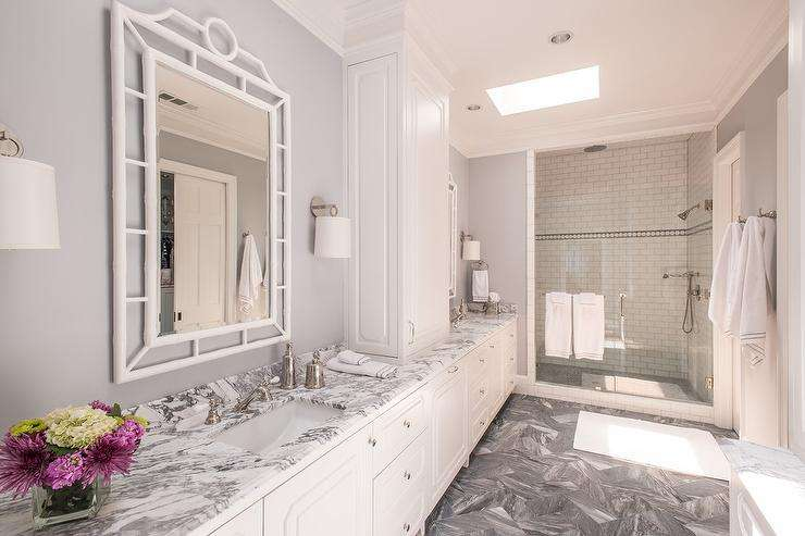 White Grey Master Bathroom Design Gray Marble Counters