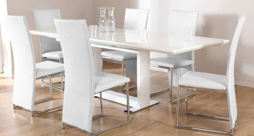 White High Gloss Extending Dining Table Chairs Set Athens