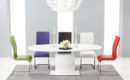 White High Gloss Extending Pedestal Dining Table Malaga Chairs