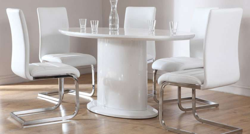 White High Gloss Oval Dining Table Leather Chairs Set
