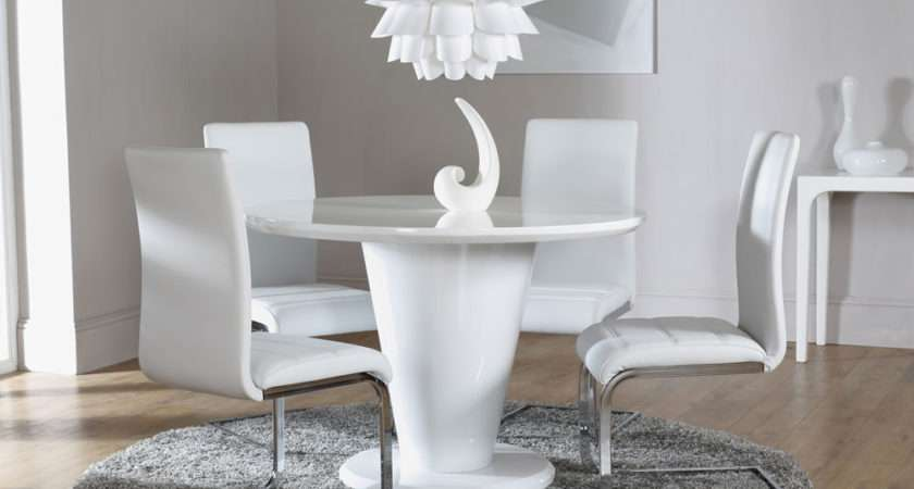 White High Gloss Round Dining Table Chairs Set Perth