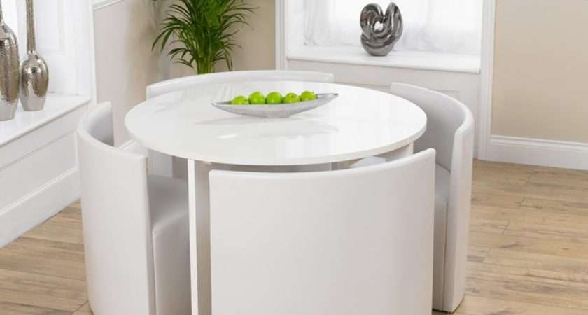 White High Gloss Stowaway Dining Table Chairs Oak Furniture