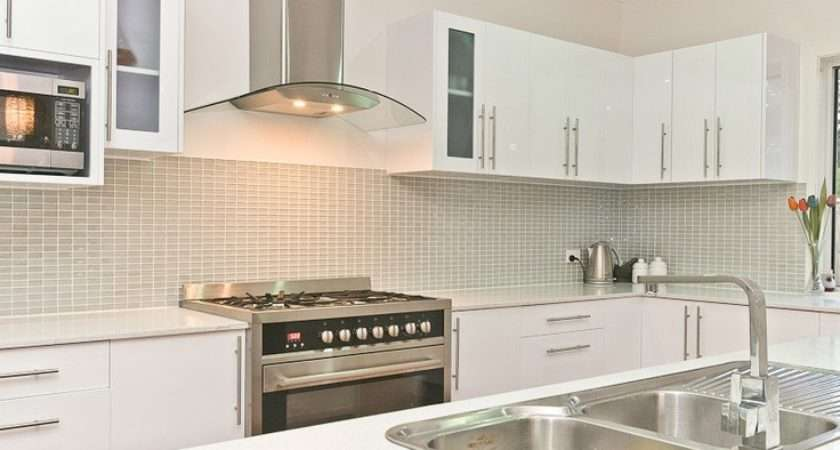 White Kitchen Funky Tiled Splashback Ideas Pinterest