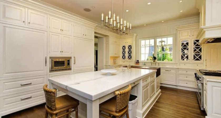 White Kitchen Marble Island Hooked Houses