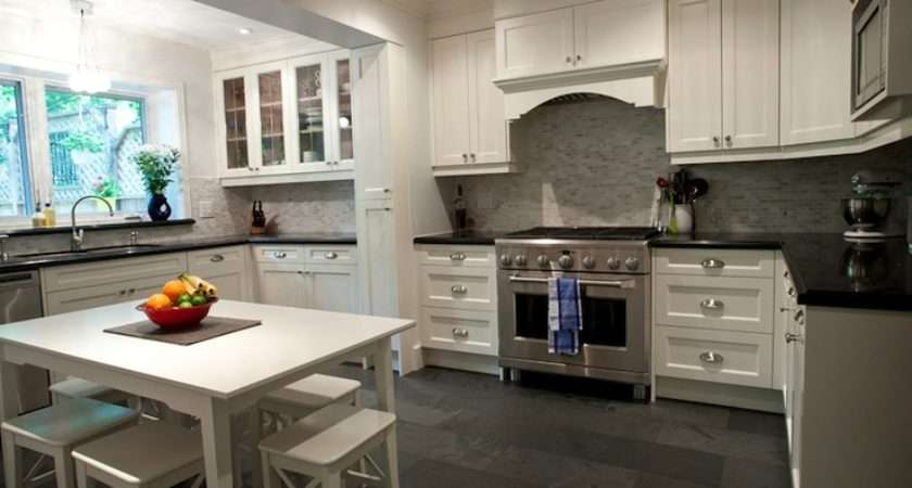 White Kitchen Slate Floors Grey Tile Design