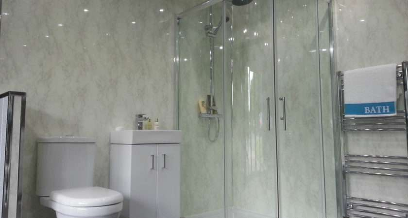 White Marble Bathroom Cladding Panels Grey Gloss