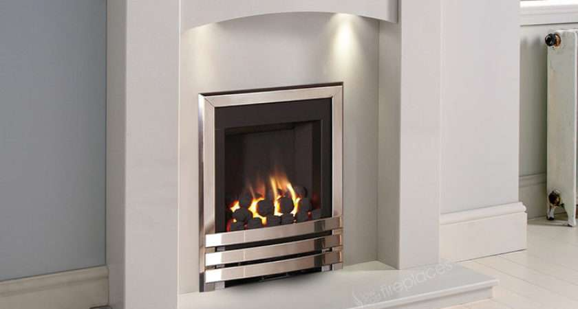 White Marble Gas Fireplace Suite