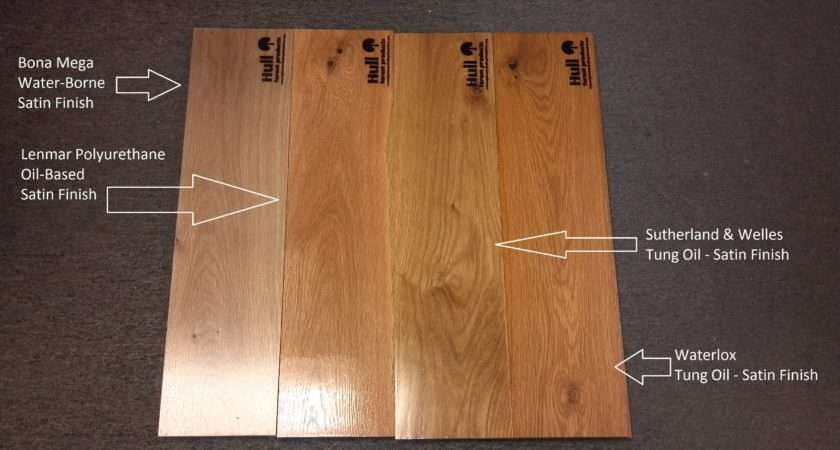 White Oak Floor Boards Labeled Different Finishes Applied