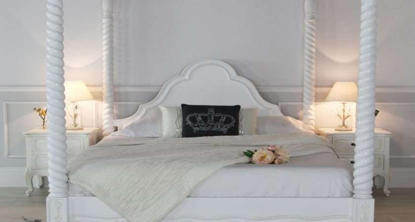 White Painted Four Poster Bed Interior Designs