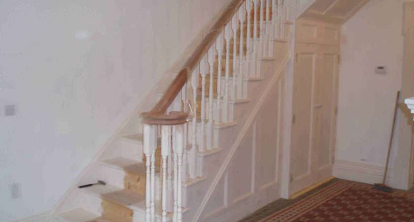 White Painted Stairs Oak Handrail