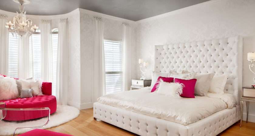 White Patterned Damask Teen Bedroom