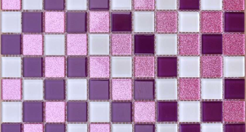 White Purple Backsplash Powder Pink Bathroom Tile