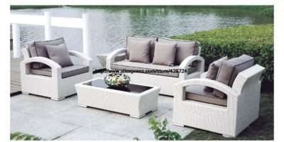 White Rattan Sofa Purple Cushions Garden Outdoor Patio