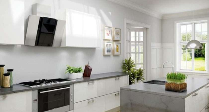 White Simple High Gloss Kitchen Designs Home