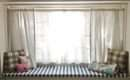 White Stained Wooden Bay Window Curtain Bench