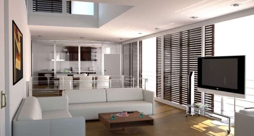 White Themed Beautiful Home Interior Design Wooden Floor
