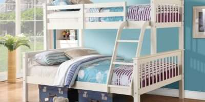 White Three Sleeper Triple Wooden Bunk Bedsmart