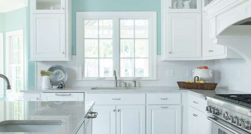 White Turquoise Kitchen Features Walls Painted Blue