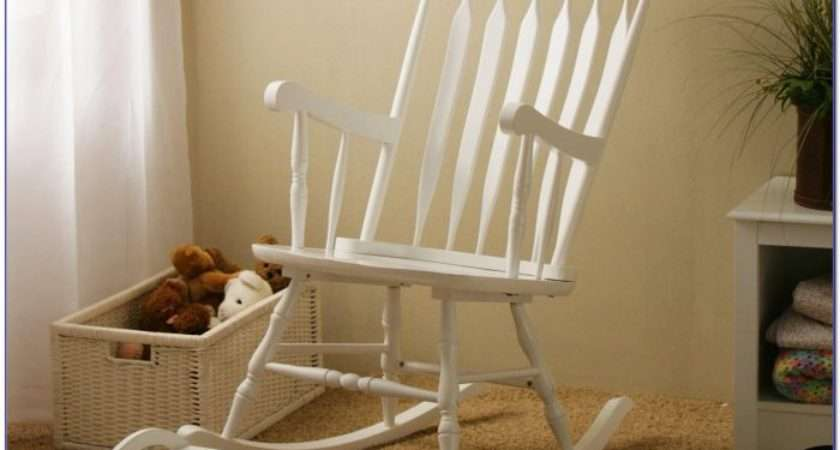 White Wooden Rocking Chair Nursery Chairs Home