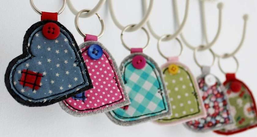 Wide Heart Fabric Key Ring Honeypips