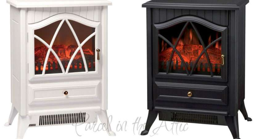 Wood Burner Log Effect Electric Fire Standing Stove White Cream
