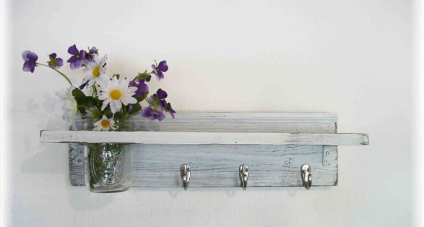 Wood French Country Wall Shelf Hooks Faded Linen Acountryway