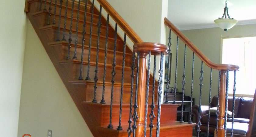 Wood Stairs Rails Iron Balusters New Stair