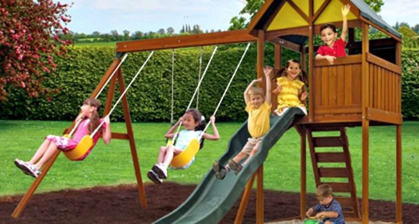 Wooden Treehouse Style Kids Garden Swing Set Great Fun