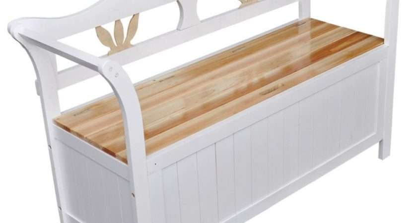 Wooden White Bench Storage Seat Wood Armrests Home