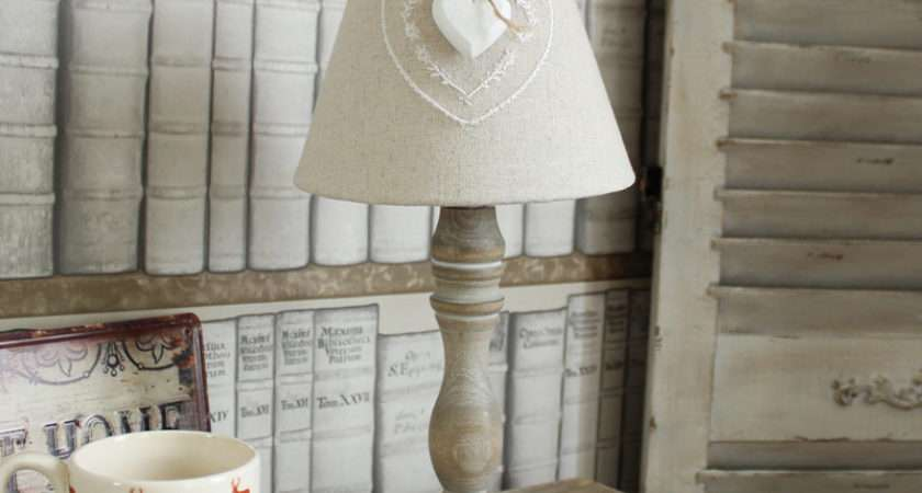 Wooden White Washed Table Lamp Linen Shade Shabby Cottage