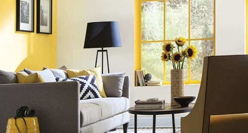 Yellow Accent Walls Ideas Gray Room Living Wall