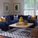 Yellow Blue Living Room Contemporary Tobi