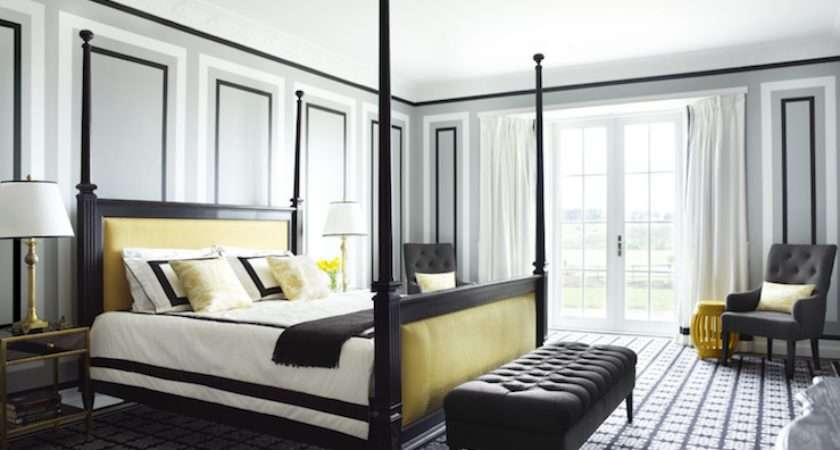 Yellow Gray Bedroom Contemporary David