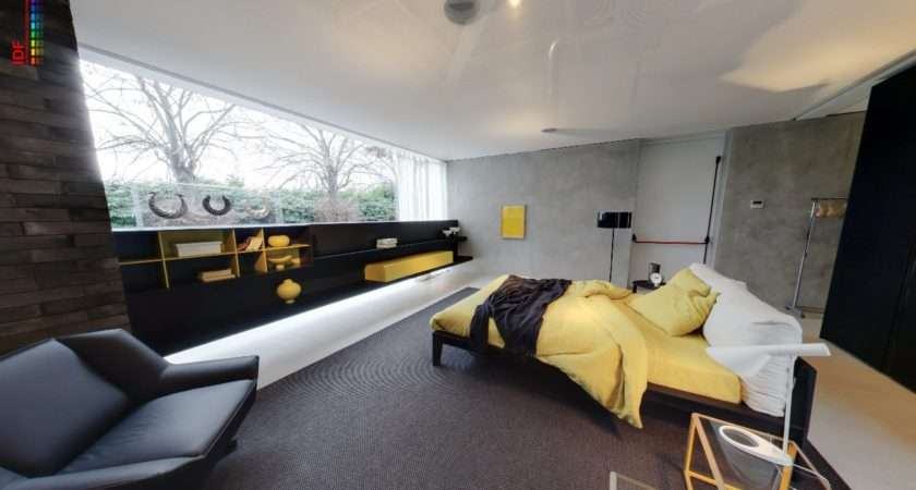 Yellow Grey Bedroom Fitted Storage Black Leather Armchair